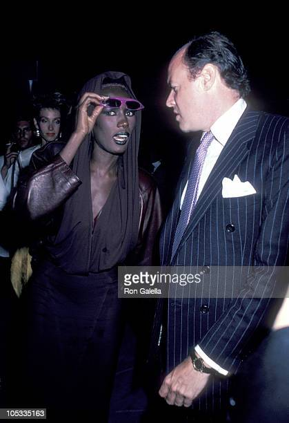 Grace Jones and guest during 'A View to a Kill' Screening Party at Les Tuileries in New York City New York United States