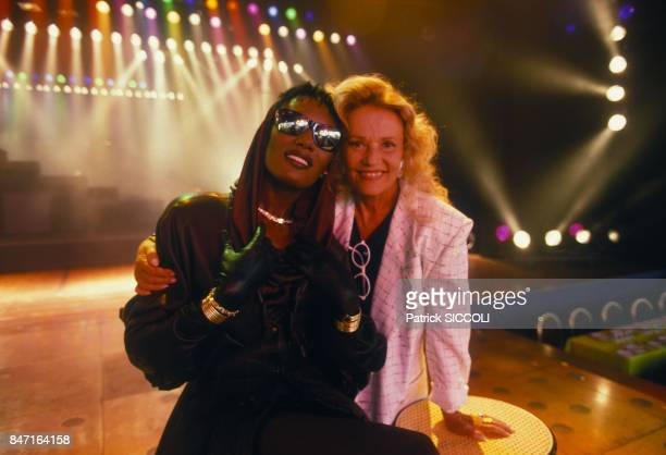 Grace Jones and Jeanne Moreau on August 7 1987 in Monaaco