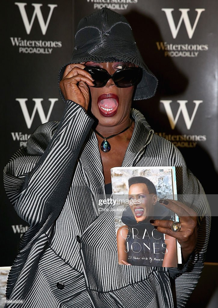 Grace Jones attends a signing of her new autobiography 'I'll Never Write My Memoirs' at Waterstones, Piccadilly on November 12, 2015 in London, England.