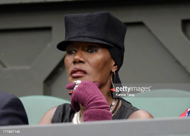 Grace Jones attends on Day 6 of the Wimbledon Lawn Tennis Championships at the All England Lawn Tennis and Croquet Club on June 29 2013 in London...
