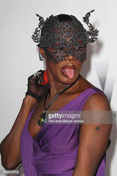 Grace Jones attends the amfAR Cinema Against AIDS 2010 at the Hotel du Cap during the 63rd Annual Cannes Film Festival on May 20 2010 in Antibes...
