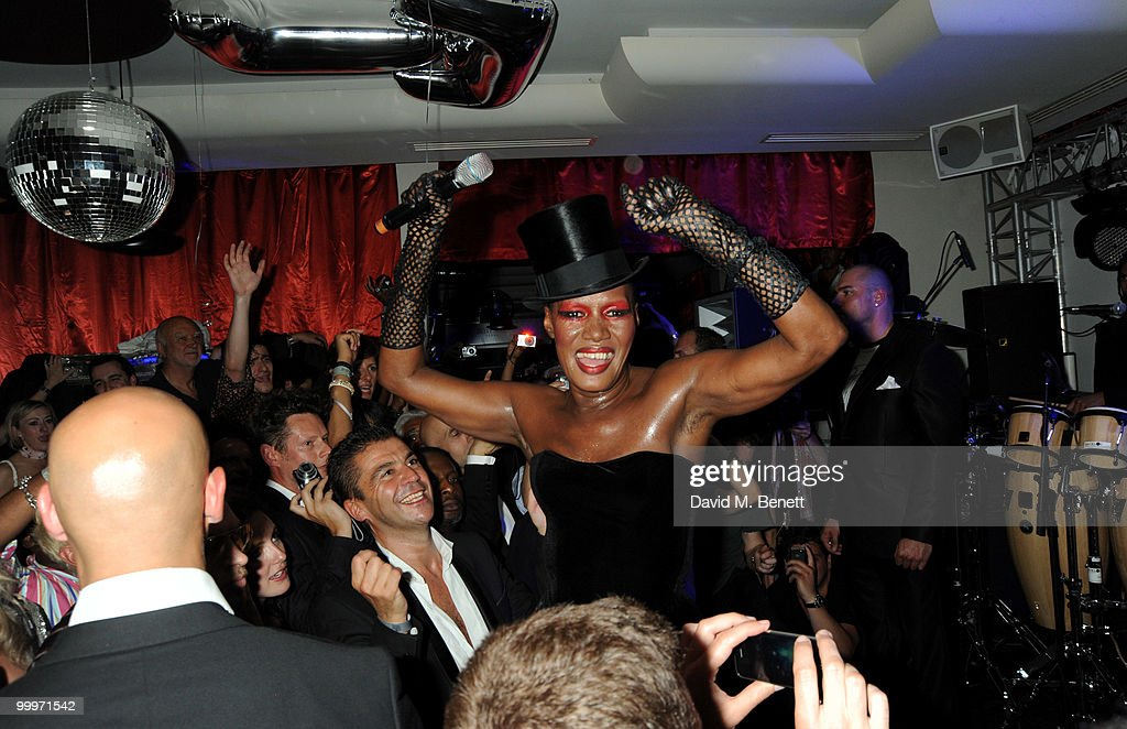 Grace Jones attends the Belvedere Vodka Party in Cannes featuring Grace Jones, at Le Baron, Hotel 3.14 on May 18, 2010 in Cannes, France.