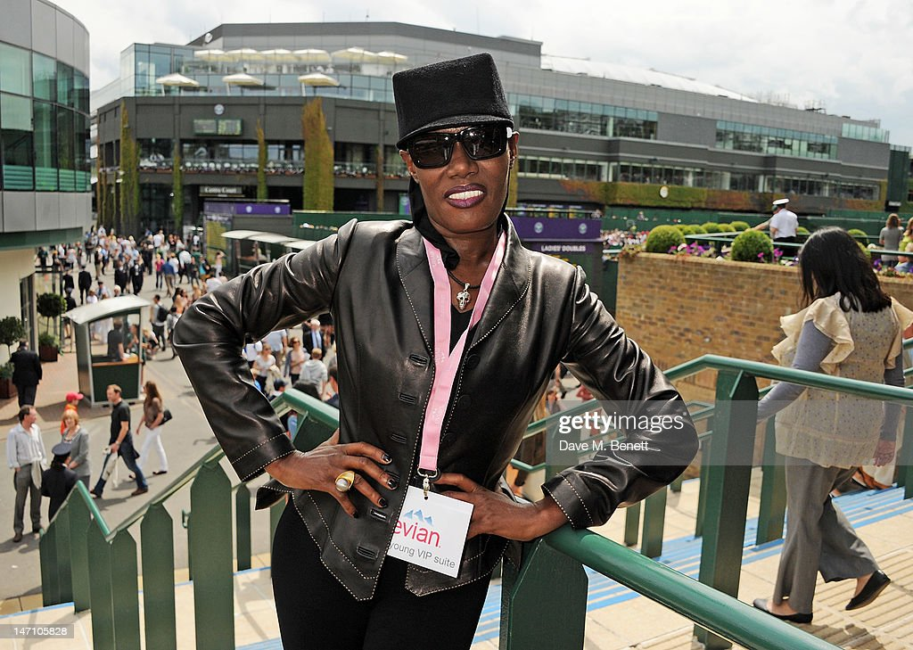 Grace Jones attends the evian 'Live young' VIP Suite at Wimbledon on June 25, 2012 in London, England.