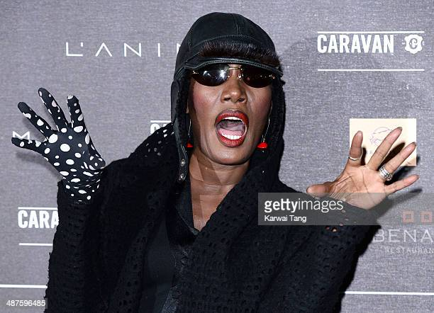 Grace Jones attends the inaugural Battersea Power Station annual party held at Battersea Power station on April 30 2014 in London England