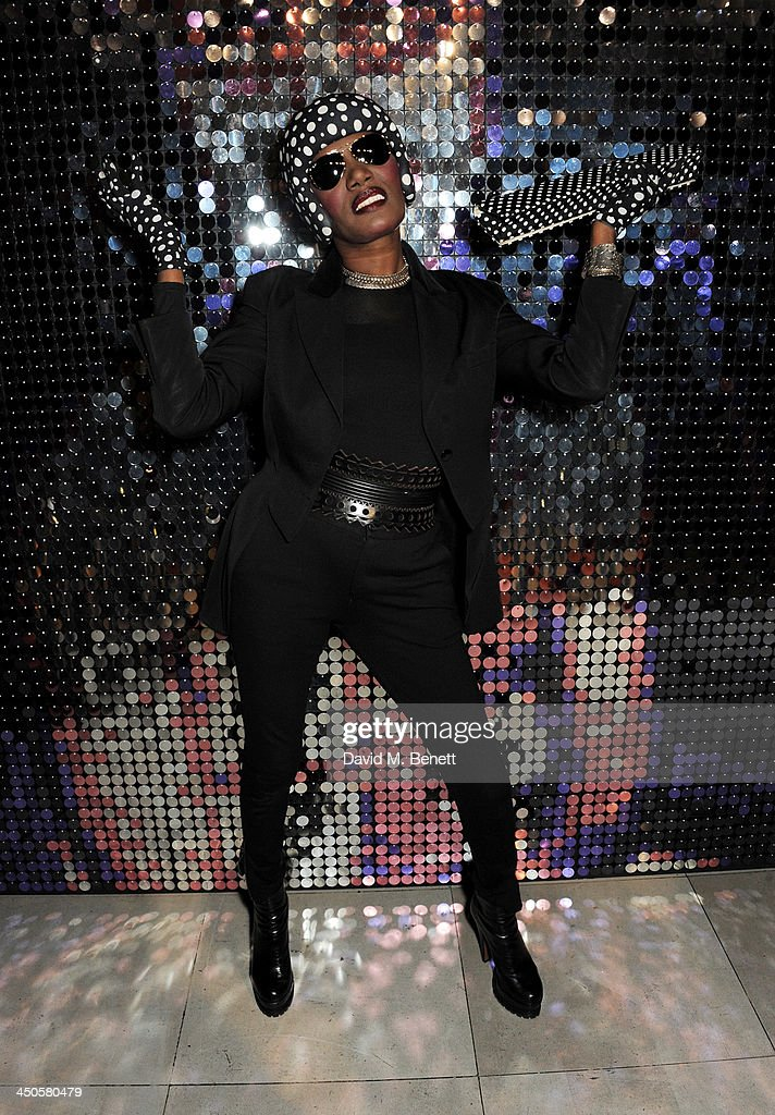 <a gi-track='captionPersonalityLinkClicked' href=/galleries/search?phrase=Grace+Jones+-+Performer&family=editorial&specificpeople=156417 ng-click='$event.stopPropagation()'>Grace Jones</a> attends the private view of Isabella Blow: Fashion Galore!, a new Somerset House exhibition, at Somerset House on November 19, 2013 in London, England.