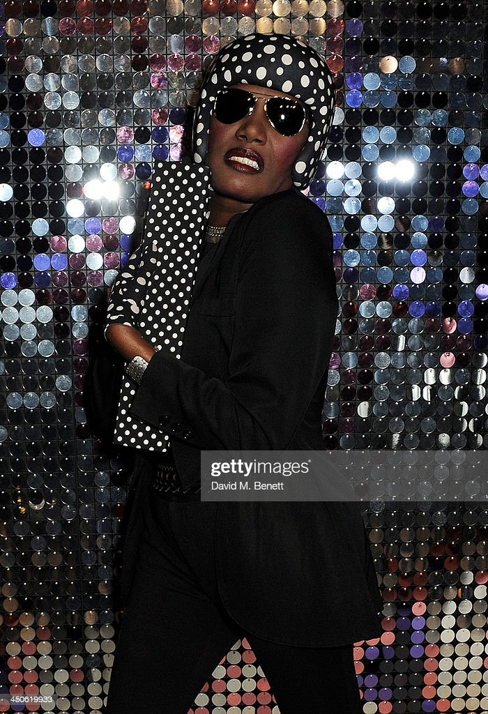 Grace Jones attends the private view of Isabella Blow: Fashion Galore!, a new Somerset House exhibition, at Somerset House on November 19, 2013 in London, England.