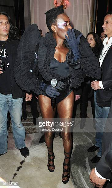 Grace Jones attends the Victor Rolf 'Flower Bomb' 5th Anniversary during Paris Fashion Week at Hotel Meurice on March 4 2010 in Paris France