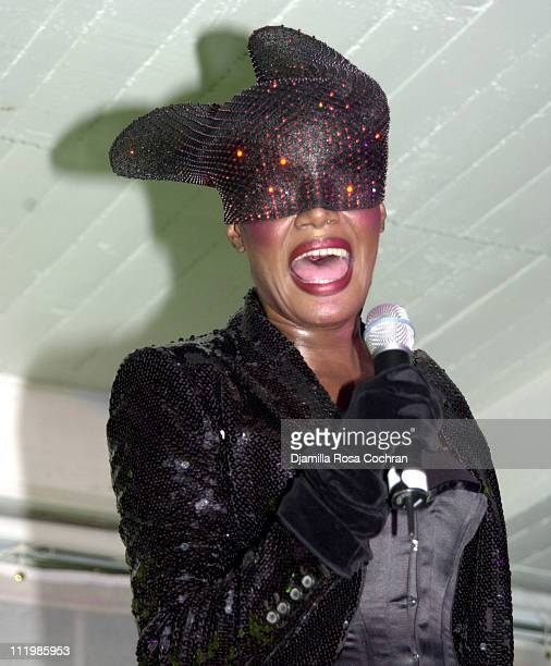 Grace Jones during Armani Exchange Nightclub in the Sky Party at Hudson Studios in New York City New York United States