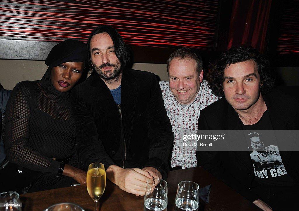 Grace Jones, Ivor Guest, Cameron Craig and Ant Genin attend Grace Jones' 'Hurricane' album release dinner at Maddox nightclub on November 4, 2008 in London.