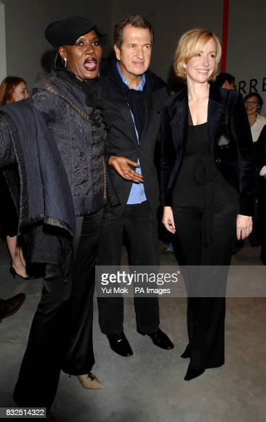 Grace Jones Mario Testino and Louise T Blouin attending the launch of The Louise T Blouin Foundation's inaugural exhibition 'A Life In Light' at The...