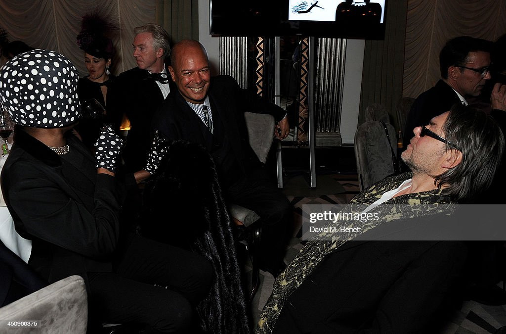 Grace Jones, Michael Roberts and David Downton attend the Isabella Blow: Fashion Galore! charity dinner hosted by the Isabella Blow Foundation at Claridges Hotel on November 19, 2013 in London, England.