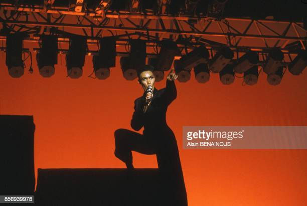 Grace Jones on stage at Olympia music hall on December 02 1988 in Paris France