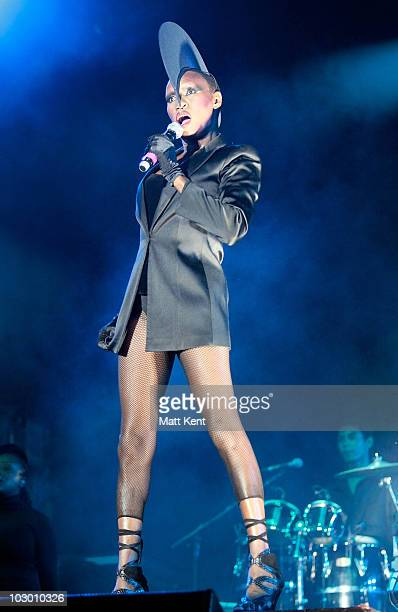 Grace Jones performs at Day 3 of Lovebox at Victoria Park on July 18 2010 in London England