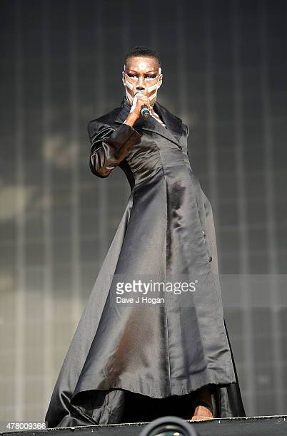 Grace Jones performs at the British Summer Time 2015 at Hyde Park on June 21 2015 in London England