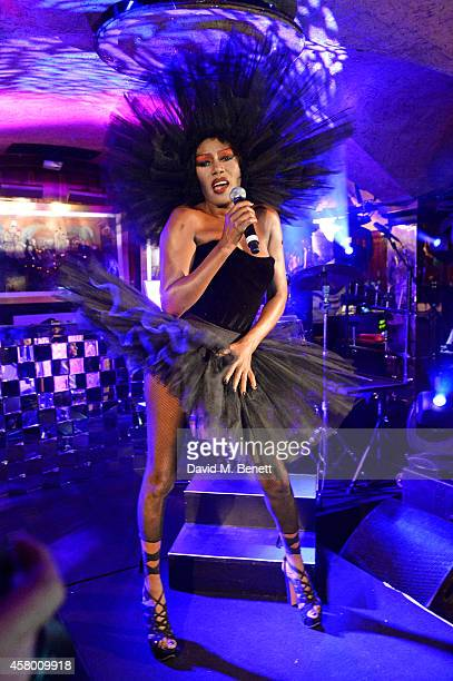 Grace Jones performs at the launch of Annabel's DocuFilm 'A String of Naked Lightbulbs' at Annabel's on October 28 2014 in London England