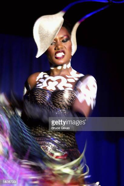 Grace Jones performs at the Public Theater Benefit Celebration of 'Radiant Baby' the Keith Haring musical featuring Grace Jones at the Roxy February...