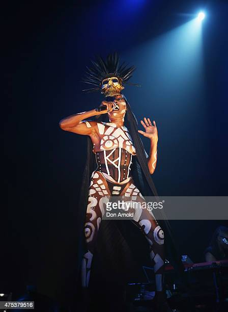 Grace Jones performs live as part of VIVID Sydney at Carriageworks on May 31 2015 in Sydney Australia