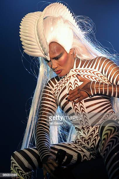Grace Jones performs live at the Royal Albert Hall on April 26 2010 in London England