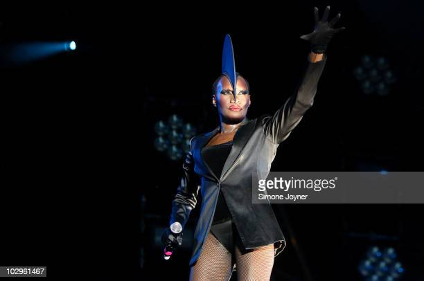 Grace Jones performs live on the main stage during day three of the Love Box Weekender 2010 at Victoria Park on July 18 2010 in London England