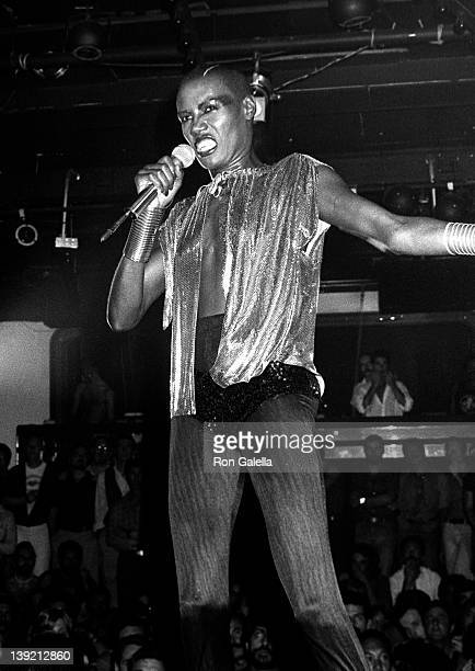 Grace Jones performs on September 23 1977 at La Mouche Disco in New York City