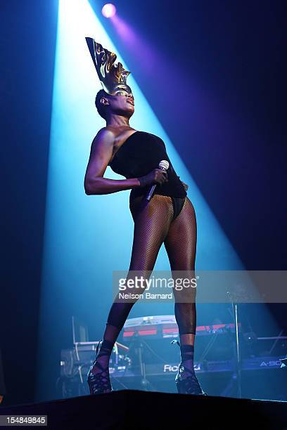 Grace Jones performs on stage as part of her 'Hurricane' tour at Roseland Ballroom on October 27 2012 in New York City