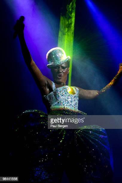 Grace Jones performs on stage at Vredenburg Leidsche Rijn on April 13 2010 in Utrecht Netherlands