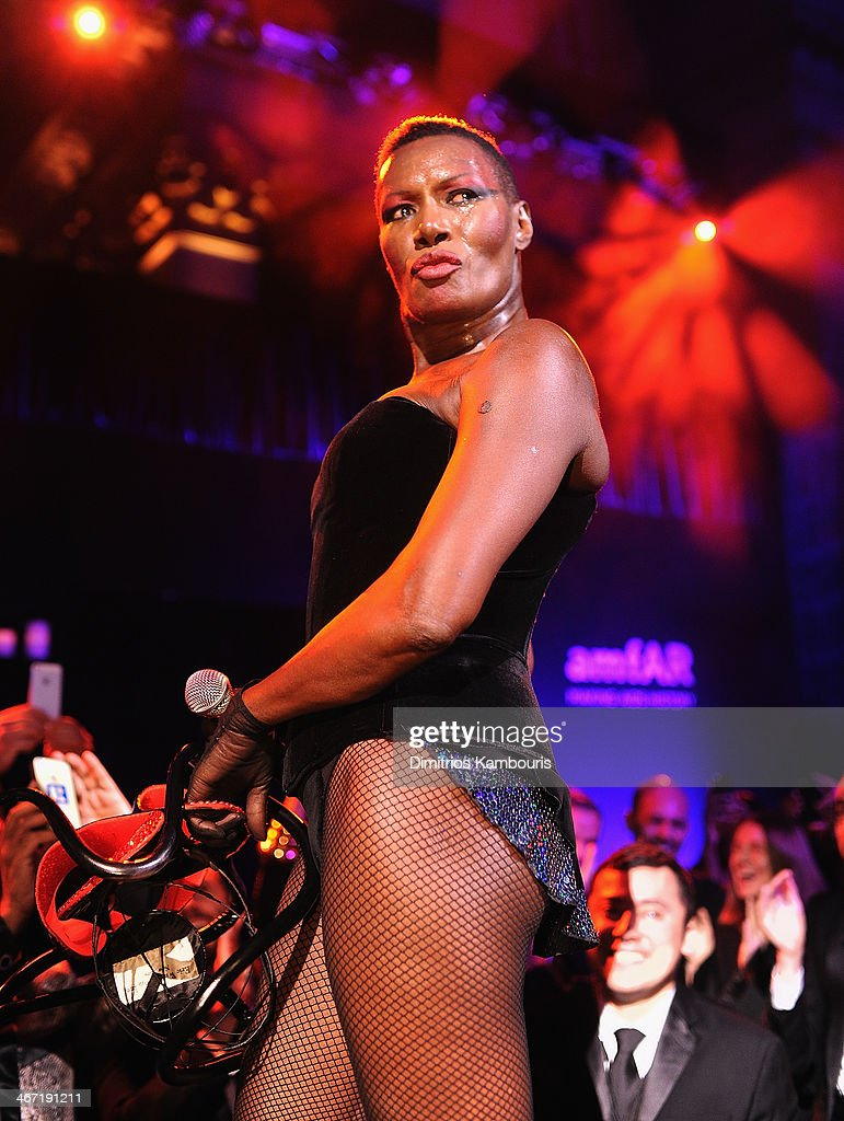 <a gi-track='captionPersonalityLinkClicked' href=/galleries/search?phrase=Grace+Jones+-+Performer&family=editorial&specificpeople=156417 ng-click='$event.stopPropagation()'>Grace Jones</a> performs onstage during the 2014 amfAR New York Gala at Cipriani Wall Street on February 5, 2014 in New York City.