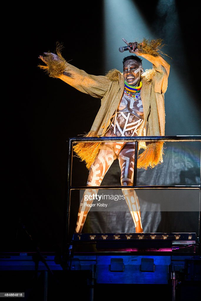 Grace Jones performs onstage during the Afropunk Fancy Ball at Commodore Barry Park on August 21, 2015 in Brooklyn, New York.