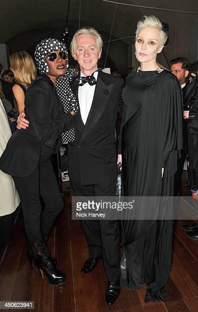 Grace Jones Philip Treacy and Daphne Guinness attend the private view of Isabella Blow Fashion Galore Party at Somerset House on November 19 2013 in...