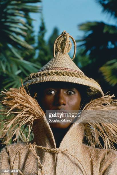 Grace Jones Wearing a Conical Hat