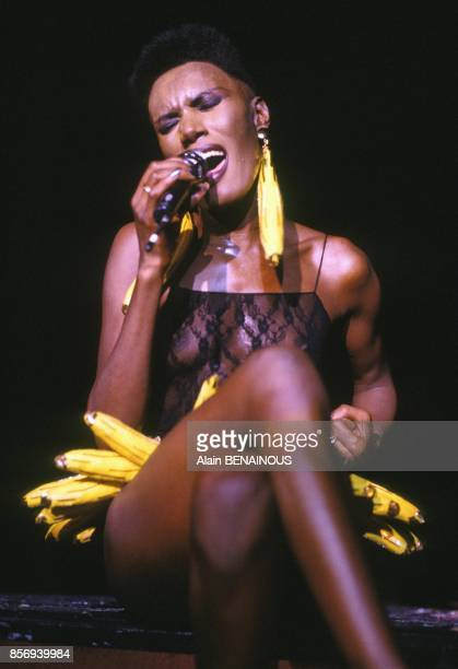 Grace Jones with banana belt on stage at Olympia music hall on December 02 1988 in Paris France