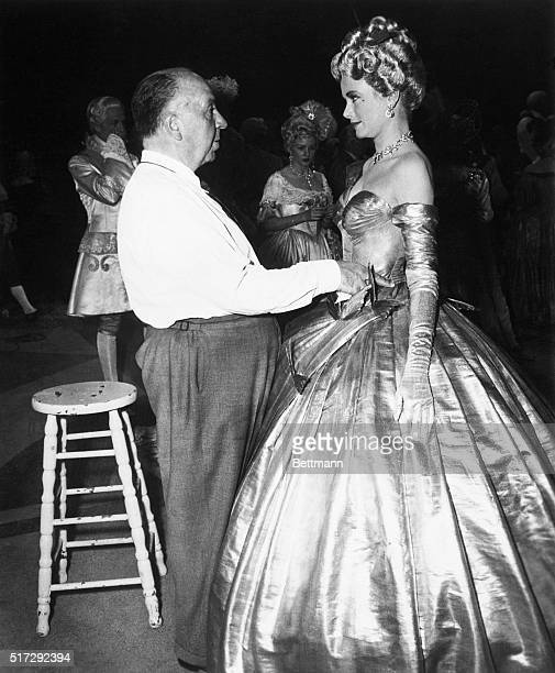 Grace Kelly and Alfred Hitchcock on the set of To Catch A Thief