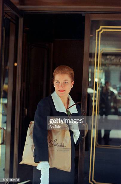 Grace Kelly at the Regency Hotel doors circa 1970 New York