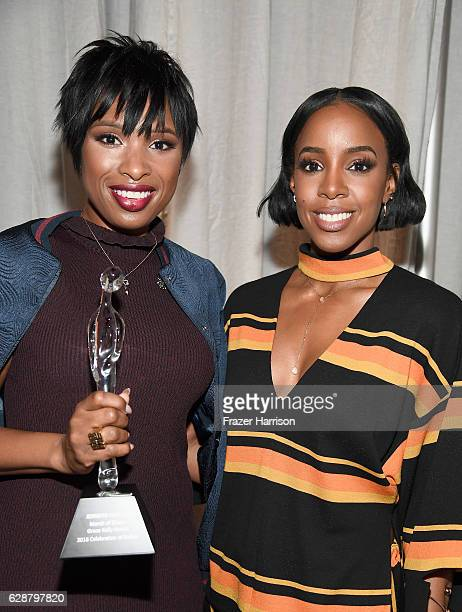 Grace Kelly Award Winner Jennifer Hudson poses with award and singer Kelly Rowland during 2016 March of Dimes Celebration of Babies at the Beverly...