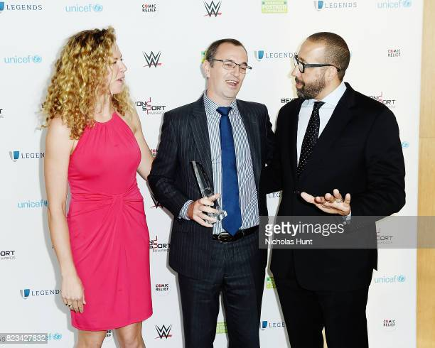 Grace Luczak Glenn Cummings and Coach David Fizdale attend the Beyond Sport Global Awards on July 26 2017 in New York City