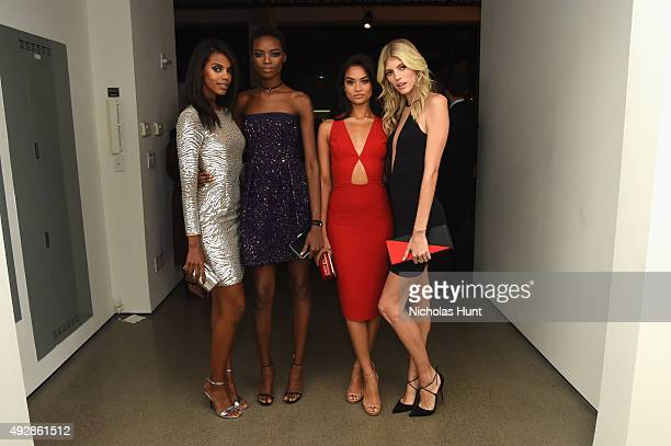Grace Mahary Maria Borges Shanina Shaik and Devon Windsor attend God's Love We Deliver Golden Heart Awards at Spring Studio on October 15 2015 in New...