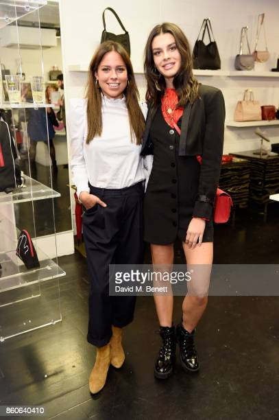 Grace McGovern and guest attend the Lulu x Vaseline launch party at Lulu Guinness at Covent Garden on October 12 2017 in London England