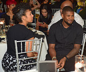 Grace Miguel and Usher attend the 10 Year Anniversary Celebration Dinner With Jeezy And The Street Dreams Foundation at 103 West on July 24 2015 in...