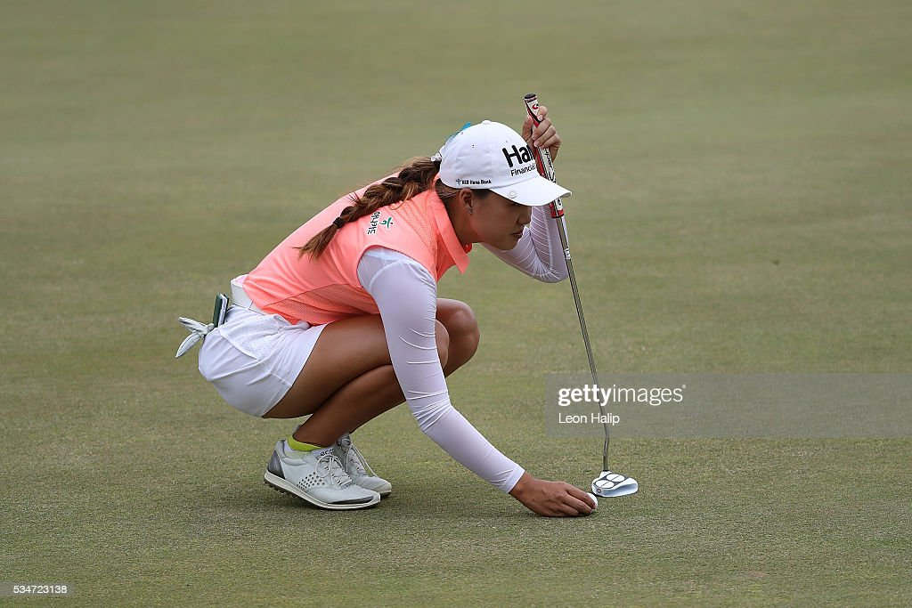 Grace Na from the United States lines up her putt on the first green during the second round of the LPGA Volvik Championship on May 27, 2016 at Travis Pointe Country Club Ann Arbor, Michigan.