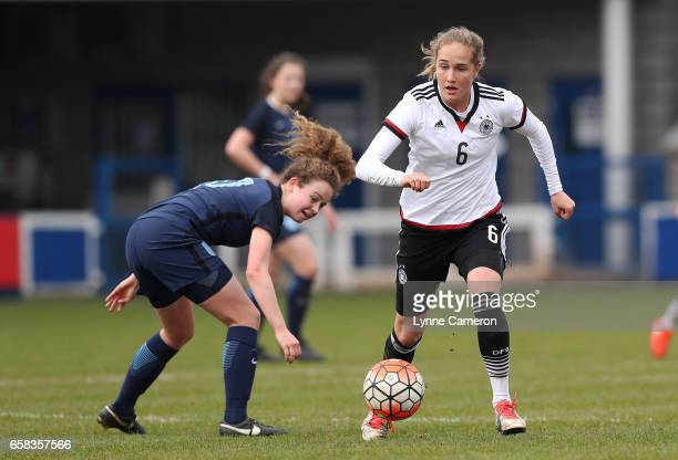 Grace Neville of England and Sydney Lohmann of Germany during the England v Germany U17 Girl's Elite Round match on March 27 2017 in Telford England