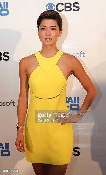 Grace Park arrives at the CBS 'Hawaii Five0' Sunset On The Beach Season 6 Premire Event at Queen's Surf Beach on September 12 2015 in Waikiki Hawaii