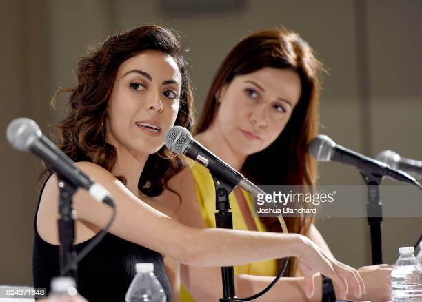 Grace Parra and Jennifer Bartels at 'Sex Presidents Handmaids Hosted by Lady Freak' panel during Politicon at Pasadena Convention Center on July 29...