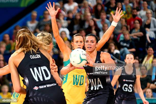 Grace Rasmussen of New Zealand looks to pass the ball during the International Test Match between the Australian Diamonds and the New Zealand Silver...