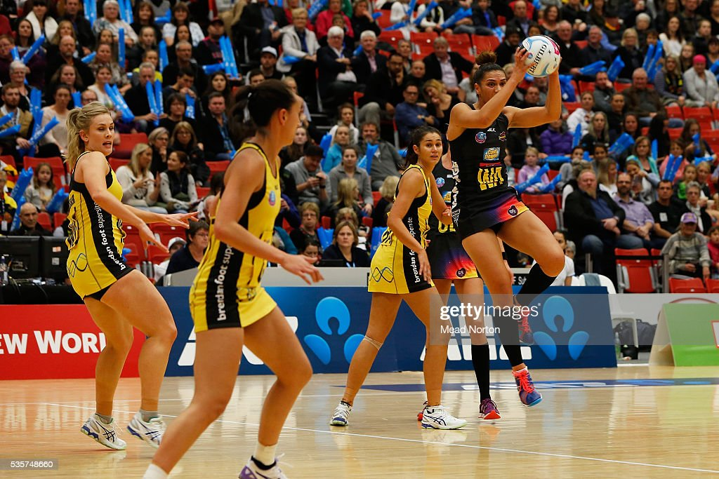 Grace Rasmussen of the BOP Magic during the round nine ANZ Championship match between the Magic and the Pulse at ASB Baypark Stadium on May 30, 2016 in Mount Maunganui, New Zealand.