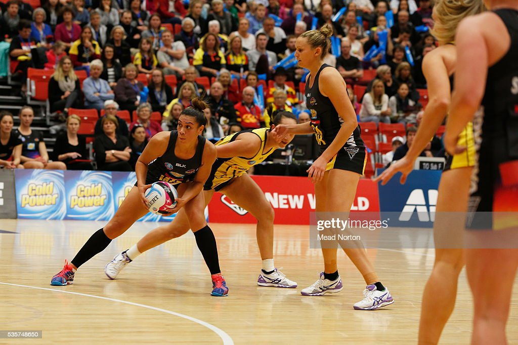 Grace Rasmussen of the BOP Magic protecting the ball during the round nine ANZ Championship match between the Magic and the Pulse at ASB Baypark Stadium on May 30, 2016 in Mount Maunganui, New Zealand.