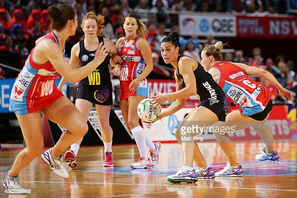 Grace Rasmussen of the Magic looks for support during the ANZ Championship Minor Semi Final match between the Sydney Swifts and the Waikato Bay of...
