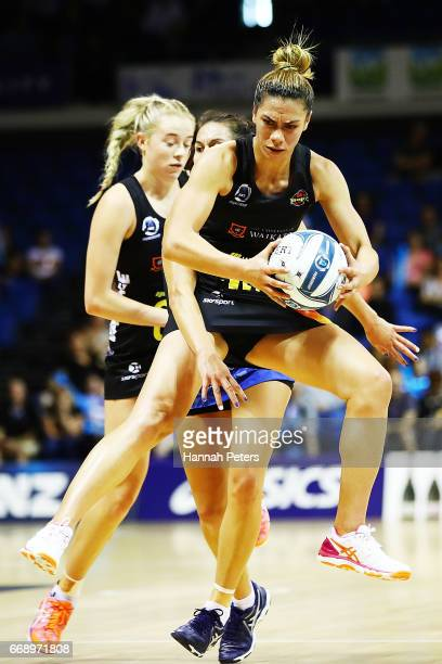 Grace Rasmussen of the Magic secures the ball during the NZ Premiership match between the Mystics and the Magic at Trusts Stadium on April 16 2017 in...