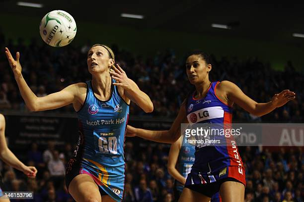 Grace Rasmussen of the Mystics competes with Demelza McCloud of the Steel during the ANZ Championship netball match at Trusts Stadium on June 11 2012...