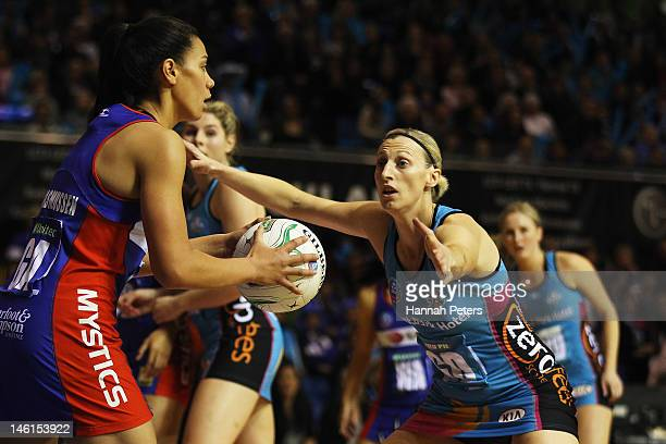 Grace Rasmussen of the Mystics looks to pass the ball past Demelza McCloud of the Steel during the ANZ Championship netball match at Trusts Stadium...