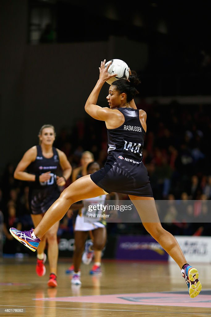 Grace Rasmussen of the Silver Ferns takes a pass during the International Test Match between the New Zealand Silver Ferns and the South Africa...